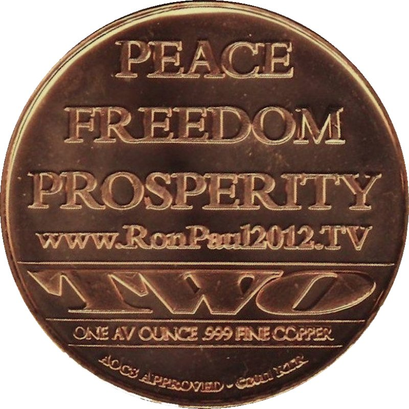 Coins & Paper Money Ron Paul Peace Freedom And Prosperity 1 Oz .999 Copper Round Other Bullion