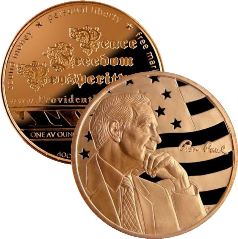 Ron Paul (AOCS) (2012) Provident Metals) 1 oz .999 Pure Copper Round