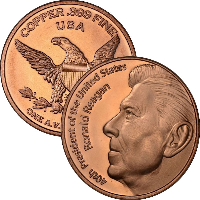 Ronald Reagan 1 oz .999 Pure Copper Round