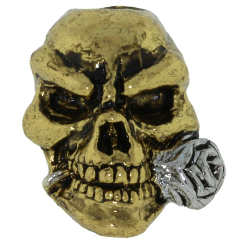 Rose Skull Bead in Antique 18K Gold/ Rhodium Finish by Schmuckatelli Co.