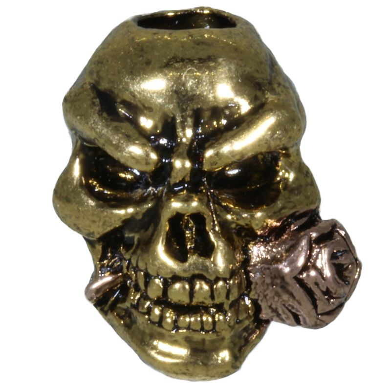 Rose Skull Bead in Antique 18K Gold/Antique Rose Gold Finish by Schmuckatelli Co.