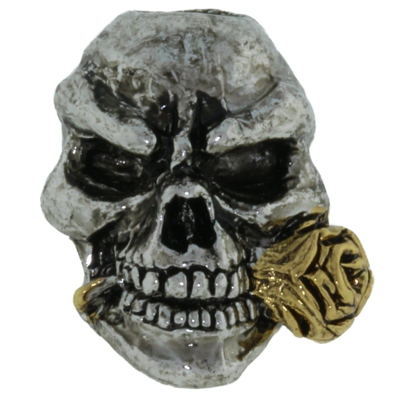 Rose Skull Bead in Rhodium/Antique 18K Gold Finish by Schmuckatelli Co.