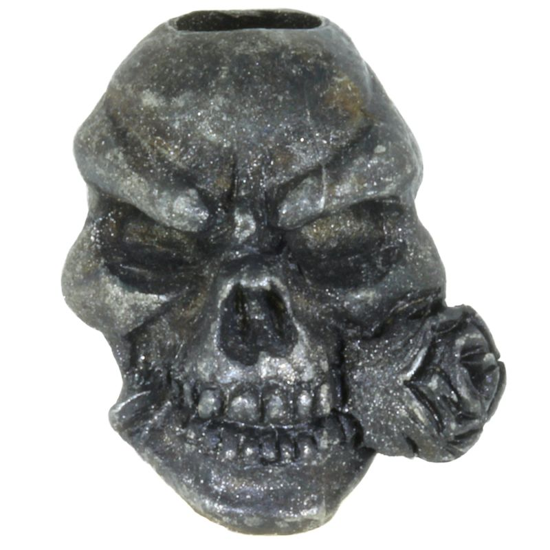 Rose Skull Bead in Black Oxide Finish by Schmuckatelli Co.