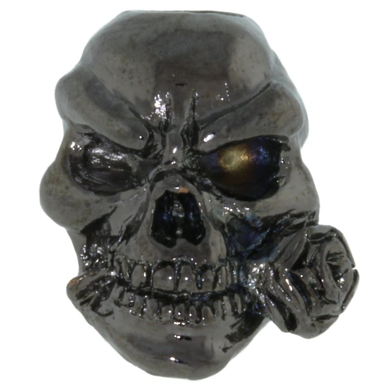 Rose Skull Bead in Hematite Finish by Schmuckatelli Co.