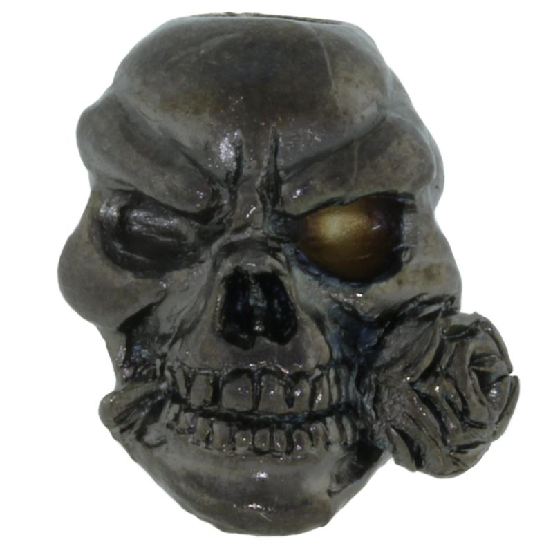 Rose Skull Bead in Hematite Matte Finish by Schmuckatelli Co.