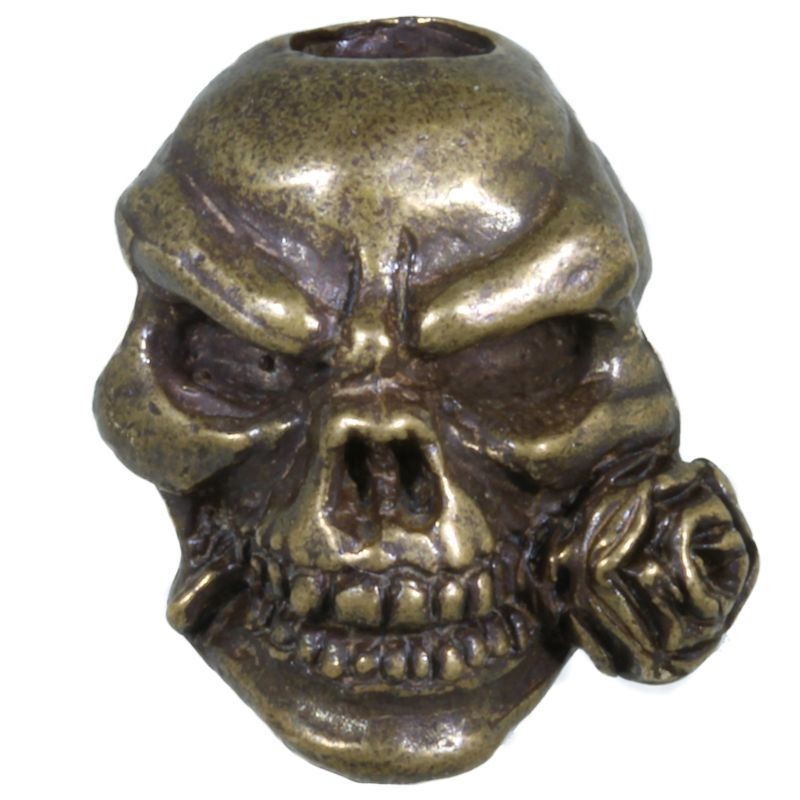 Rose Skull Bead in Solid Oil Rubbed Bronze by Schmuckatelli Co.