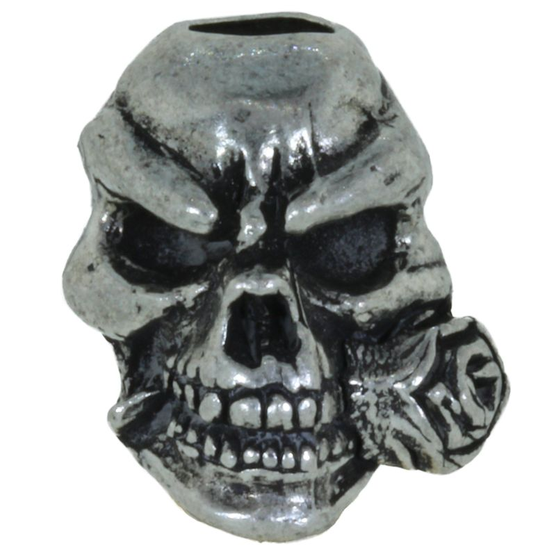 Rose Skull Bead in Pewter by Schmuckatelli Co.