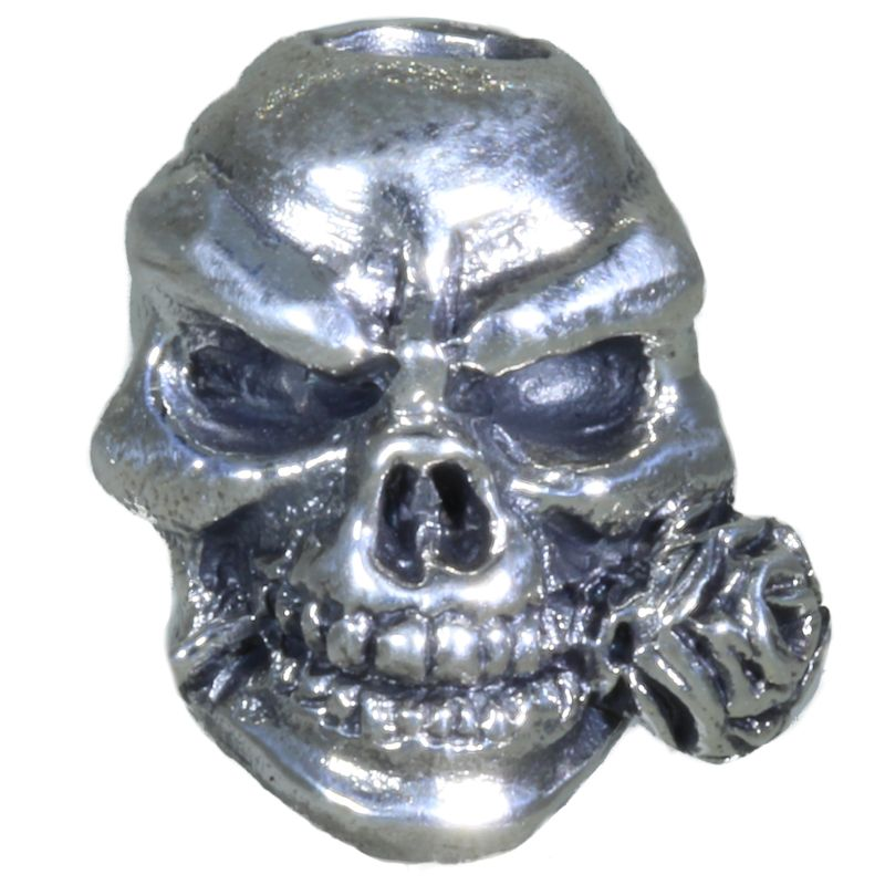 Rose Skull Bead in Solid .925 Sterling Silver by Schmuckatelli Co.
