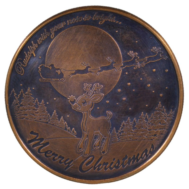Rudolph The Red Nosed Reindeer (Wreath Back Design Series) 1 oz .999 Pure Copper Round (Black Patina)