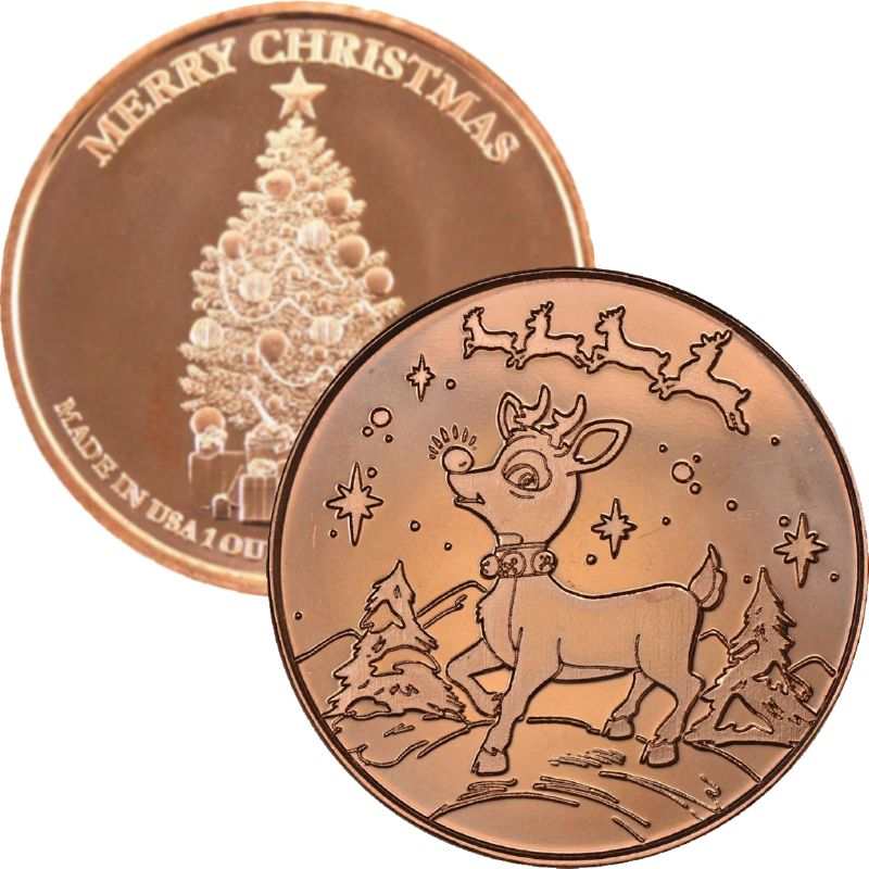 Rudolph ~ Merry Christmas (Tree Back Design Series) 1 oz .999 Pure Copper Round