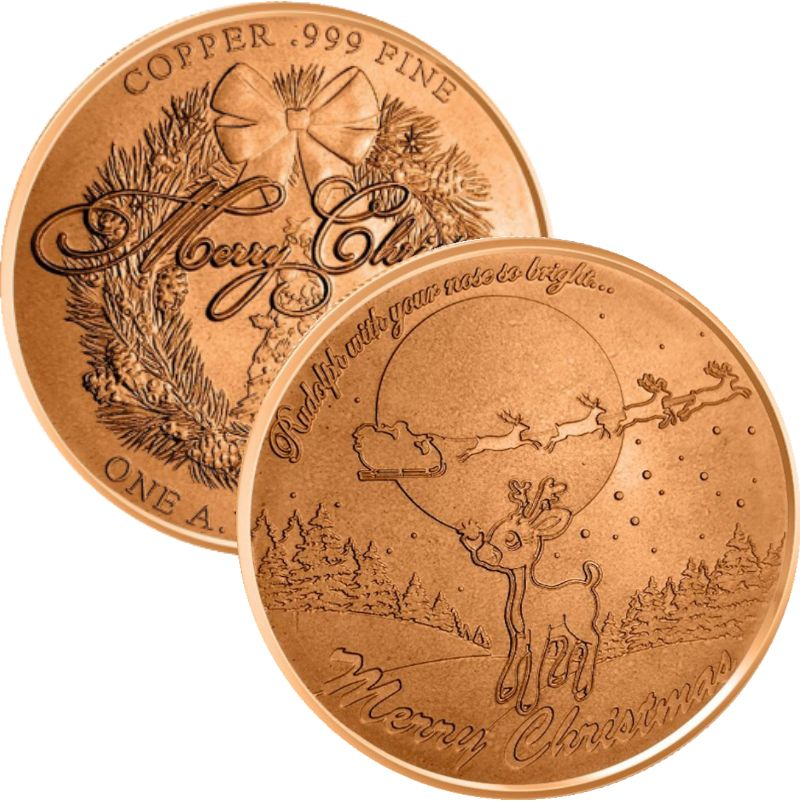Rudolph The Red Nosed Reindeer (Wreath Back Design Series) 1 oz .999 Pure Copper Round