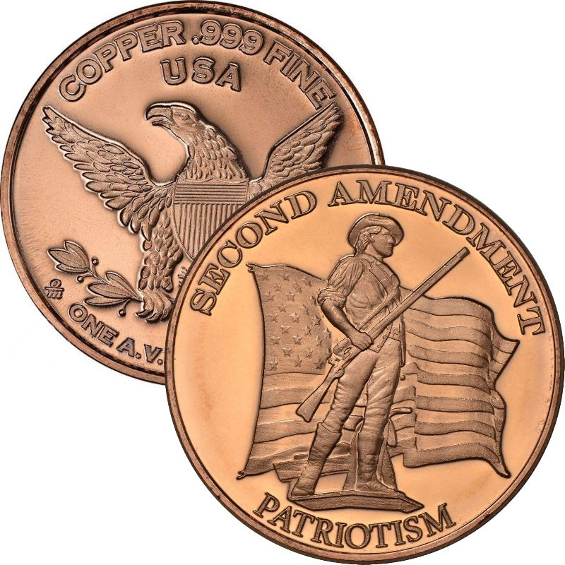 Second Amendment (Patriotism) 1 oz .999 Pure Copper Round