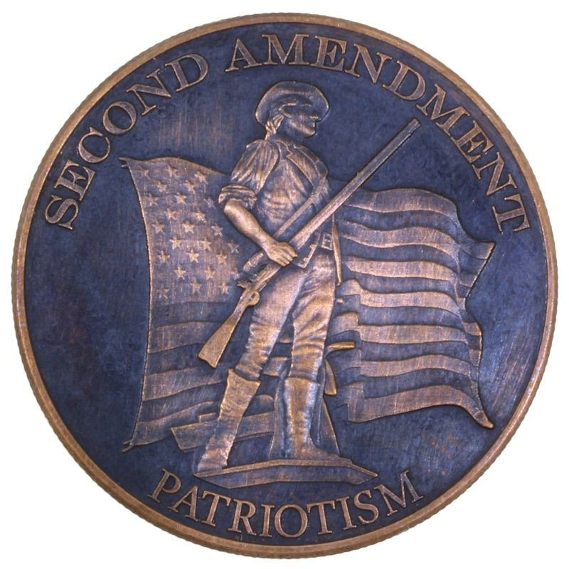 Second Amendment (Patriotism) 1 oz .999 Pure Copper Round (Black Patina)
