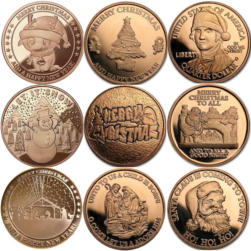 Complete Set of (9) ~ Merry Christmas (Snowflake Back Design Series) 1 oz .999 Pure Copper Round