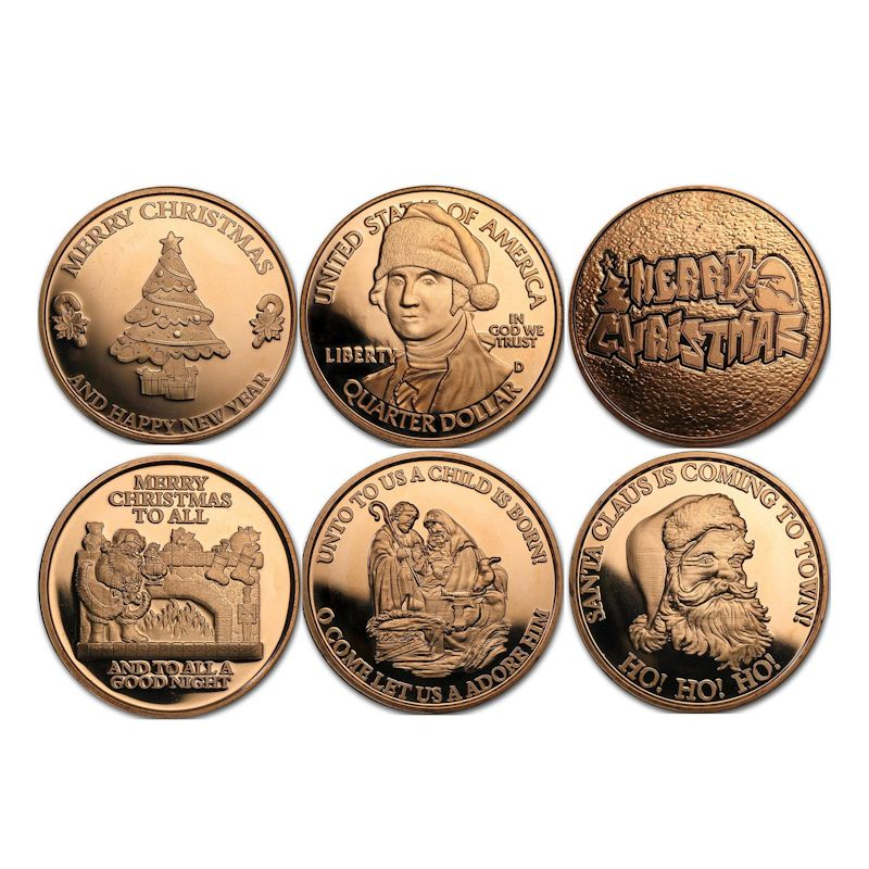Complete Set of (6) ~ Merry Christmas (Snowflake Back Design Series) 1 oz .999 Pure Copper Round