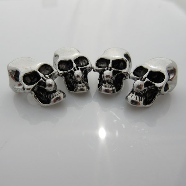 Skull Bead with Horizontal Hole in Silver Plated Finish (Set of 4)