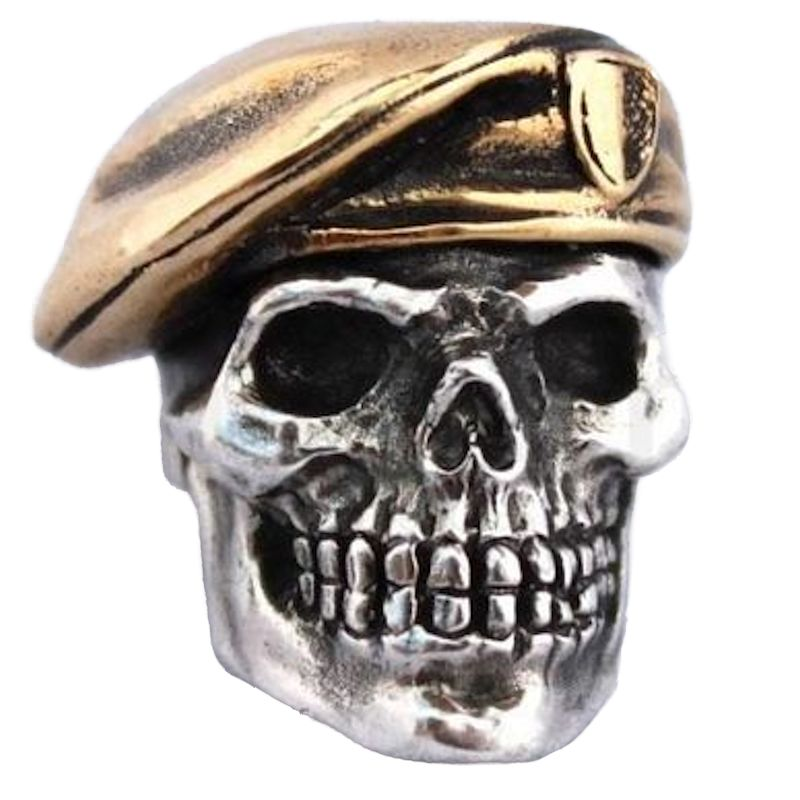 Green Beret in .925 Sterling Silver and Bronze by GD Skulls