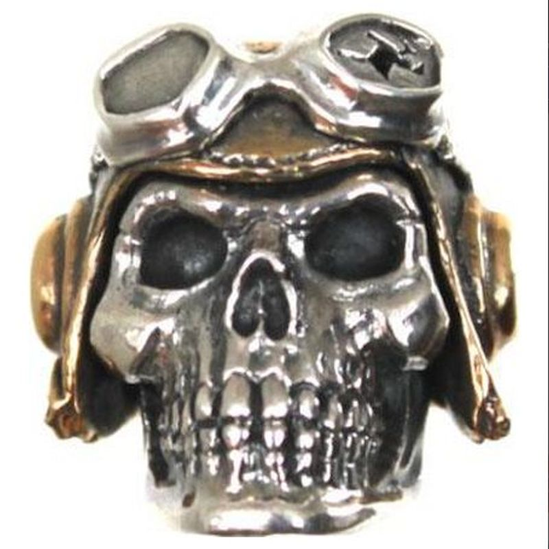 Pilot (Large) in .925 Sterling Silver and Bronze by GD Skulls