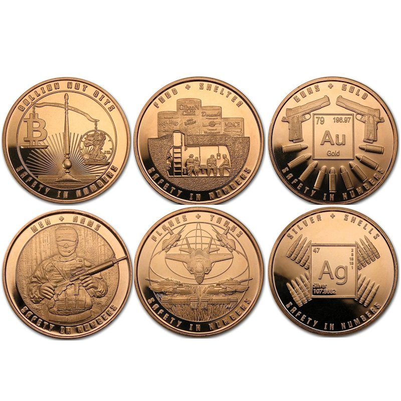 Complete Set of (6) Safety In Numbers 1 oz .999 Pure Copper Rounds