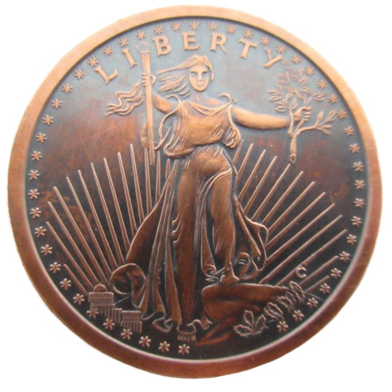 Saint Gaudens 1 oz .999 Pure Copper Round (Presston Mint) (Black Patina)