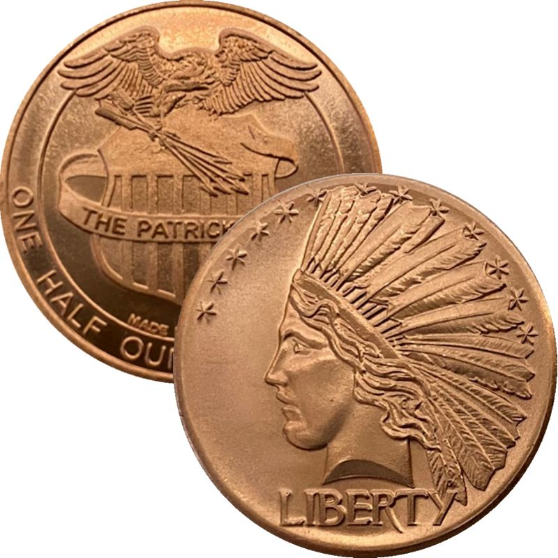 Saint Gaudens Indian Head 1/2 oz .999 Pure Copper Round By Patrick Mint