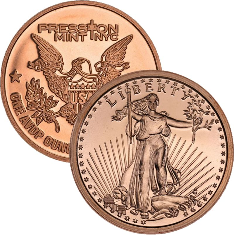Saint Gaudens 1 oz .999 Pure Copper Round (Presston Mint)