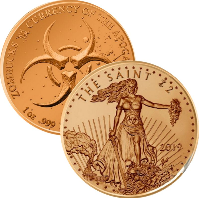 The Saint  1 oz .999 Pure Copper Round (10th Design of the Zombucks Series)