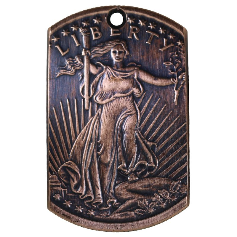 Saint Gaudens Copper Dog Tag Necklace