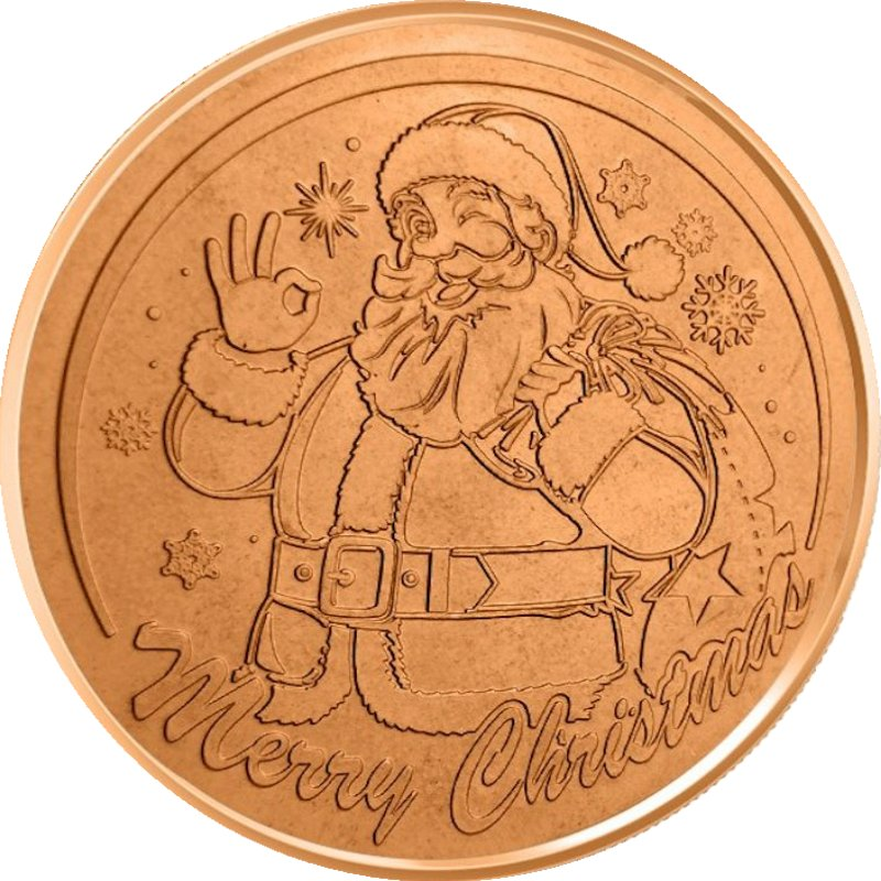Santa Claus (Wreath Back Design Series) 1 oz .999 Pure Copper Round