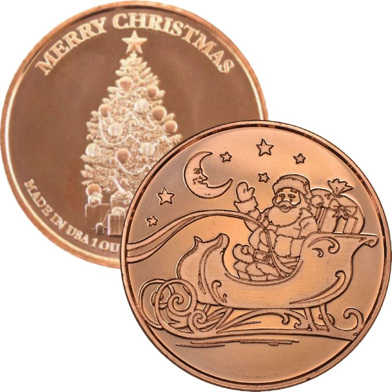 Santa In Sleigh ~ Merry Christmas (Tree Back Design Series) 1 oz .999 Pure Copper Round