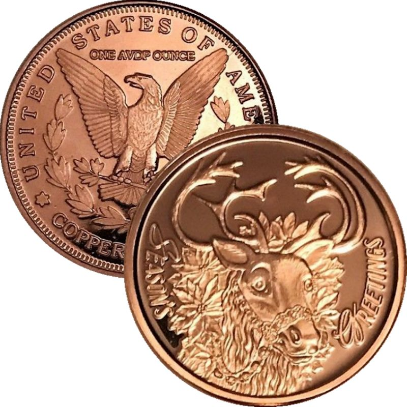 Season's Greetings Reindeer (Sunshine Mint) 1 oz .999 Pure Copper Rounds