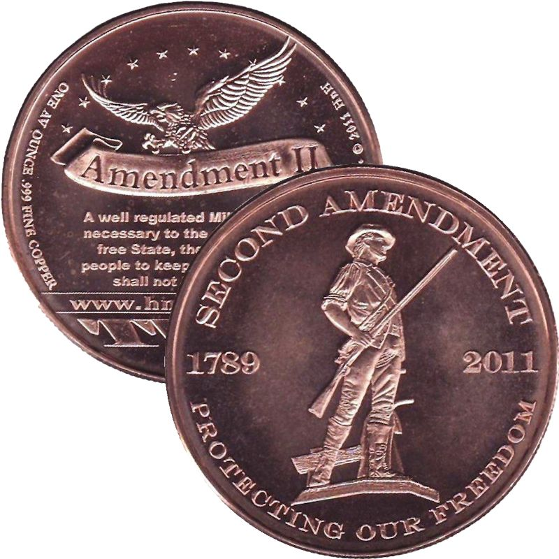 Second Amendment ~ Protecting Our Freedom (AOCS)  (2011) 1 oz .999 Pure Copper Round