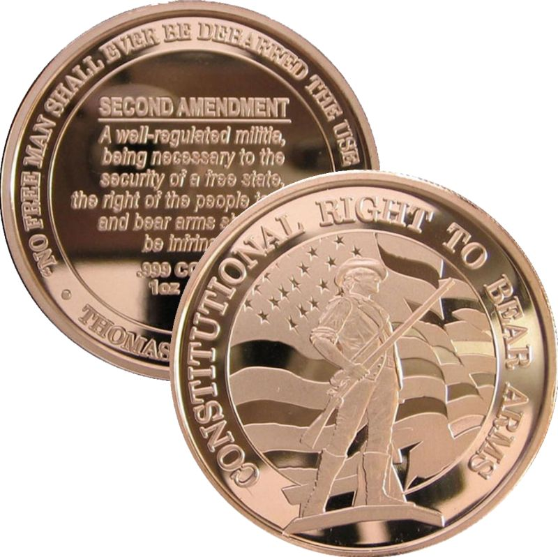 Second Amendment ~ Constitutional Right To Bear Arms (Osborne Mint) 1 oz .999 Pure Copper Round