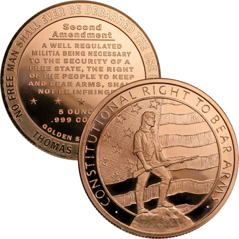Second Amendment - Right To Bear Arms Design 5 oz .999 Pure Copper Round