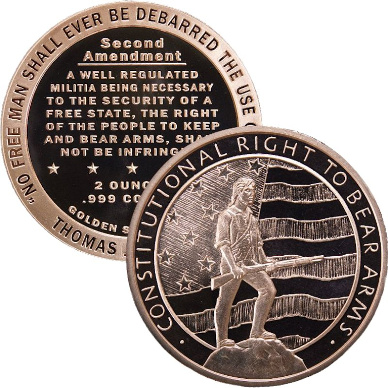 Second Amendment - Right To Bear Arms Design 2 oz .999 Pure Copper Round