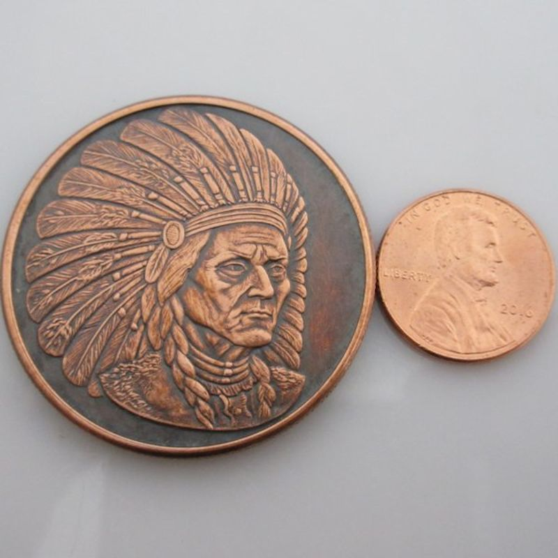 Sitting Bull 1 oz .999 Pure Copper Round (Golden State Mint) (Black Patina)