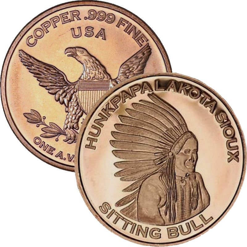 Sitting Bull 1 oz .999 Pure Copper Round