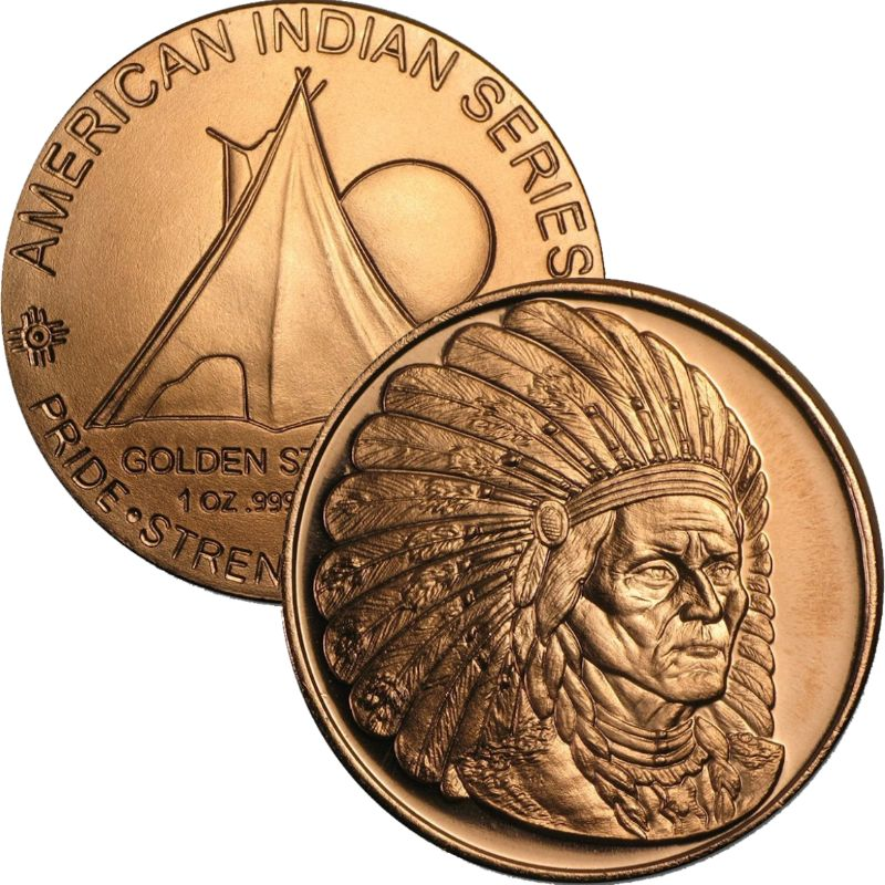 Sitting Bull 1 oz .999 Pure Copper Round (Golden State Mint)