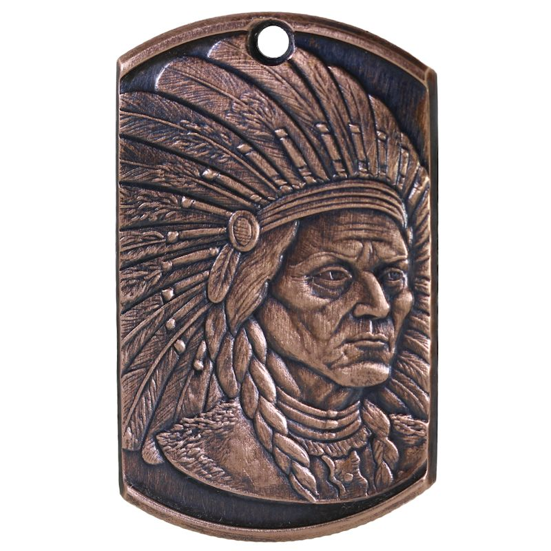 Sitting Bull Copper Dog Tag Necklace