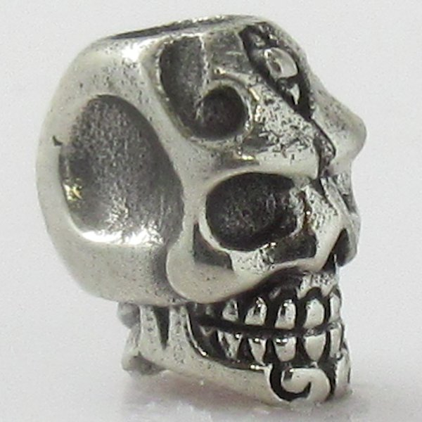 Skull Spacer Bead in White Brass by Covenant Everyday Gear