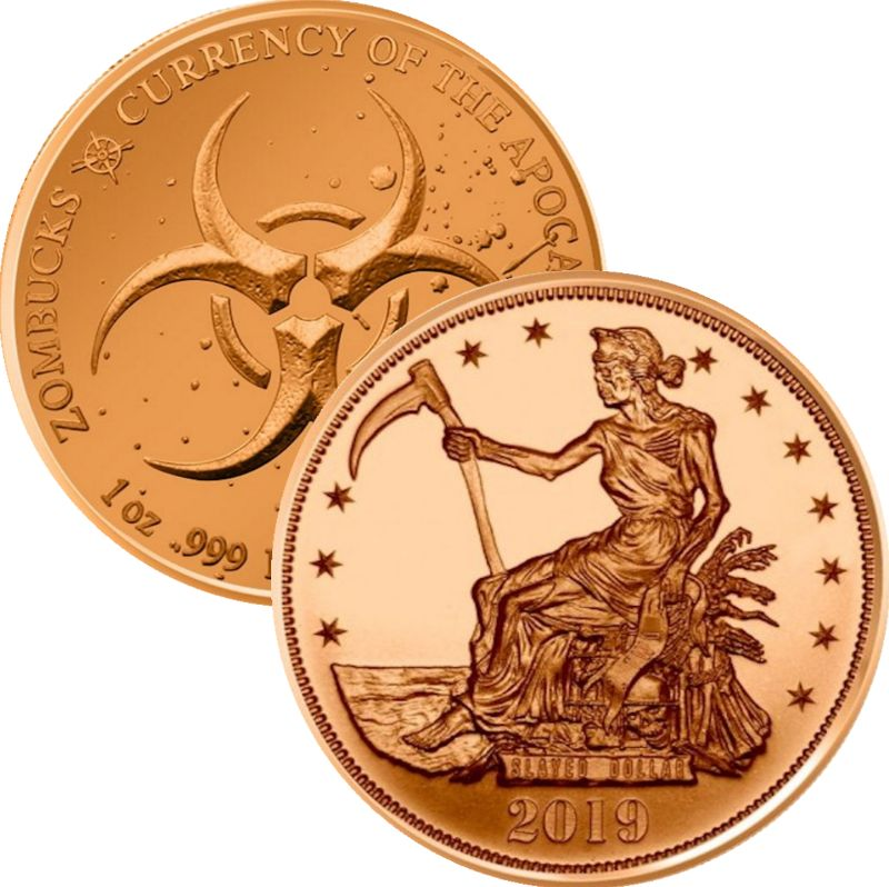 Slayed Dollar 1 oz .999 Pure Copper Round (8th Design of the Zombucks Series)