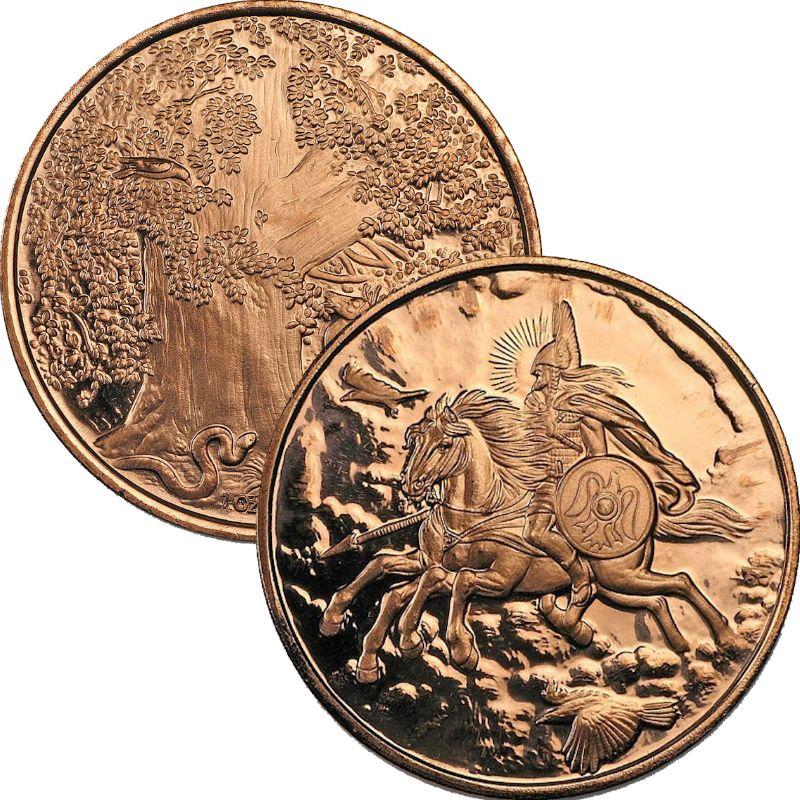 Sleipnir ~ Odin's Steed 1 oz .999 Pure Copper Round (3rd Design of the Nordic Creatures Series)