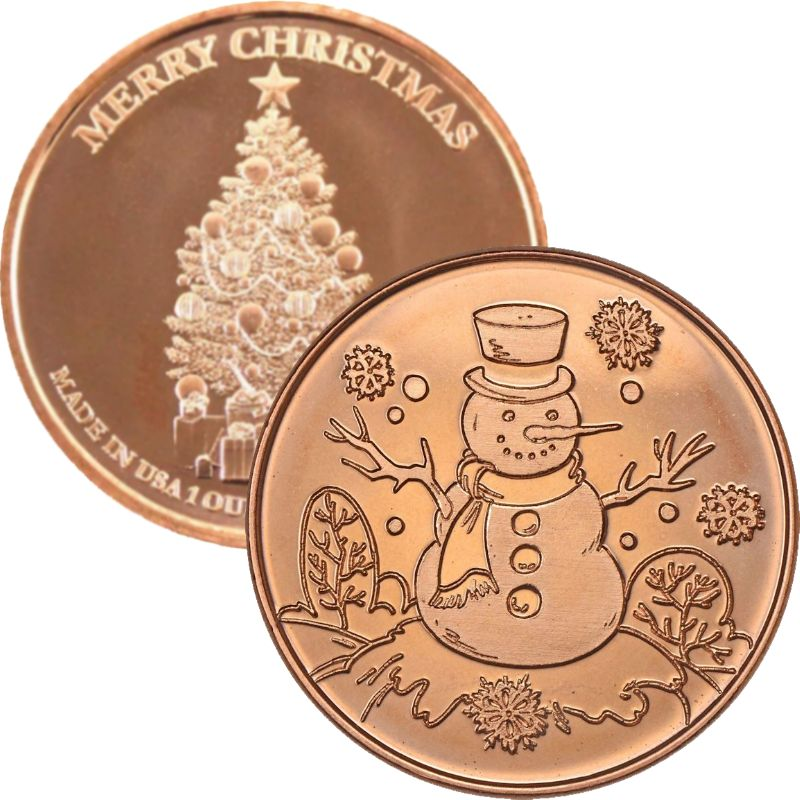 Snowman  ~ Merry Christmas (Tree Back Design Series) 1 oz .999 Pure Copper Round