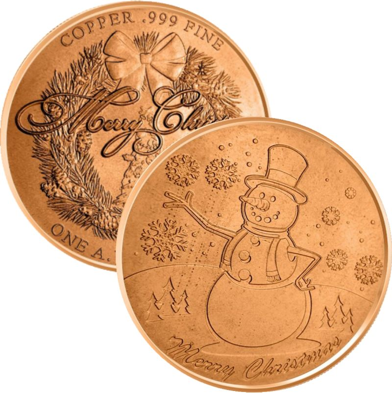 Snowman (Wreath Back Design Series) 1 oz .999 Pure Copper Round