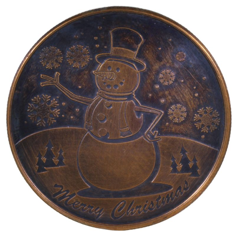 Snowman (Wreath Back Design Series) 1 oz .999 Pure Copper Round (Black Patina)