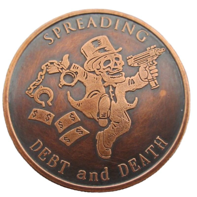Spreading Debt And Death 1 oz .999 Pure Copper Round (2016 Silver Shield) (Black Patina)