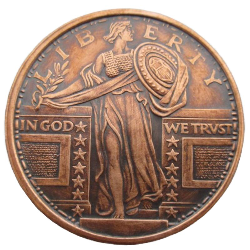 Standing Liberty 1 oz .999 Pure Copper Round (Black Patina)