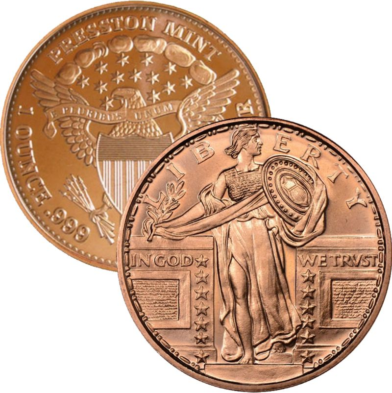 Standing Liberty 1 oz .999 Pure Copper Round (Presston Mint)