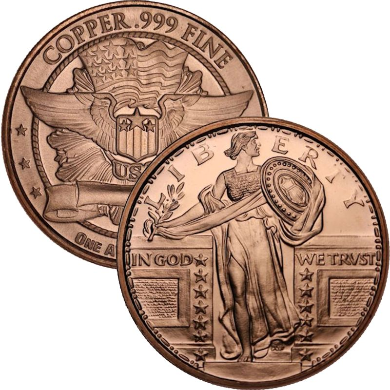 Standing Liberty 1 oz .999 Pure Copper Round