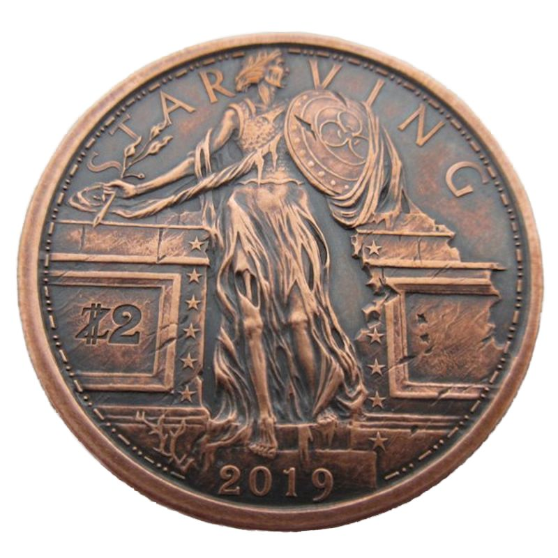 Starving Liberty 1 oz .999 Pure Copper Round (7th Design of the Zombucks Series) (Black Patina)